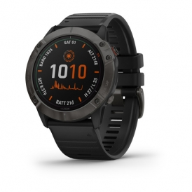 Fenix 6X Pro Solar Edition ​titanium carbon grey DLC with black band