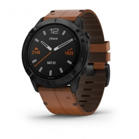 Fenix 6X Pro and Sapphire editions Black DLC with chestnut leather band