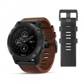 Fenix 5X Plus with Brown Leather Band