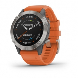 Fenix 6 Pro and Sapphire Editions Titanium with ember orange band