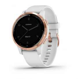 VivoActive 4S Rose Gold Stainless Steel Bezel with White Case and Silicone Band
