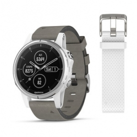 Fenix 5S Plus white with Grey Suede Band