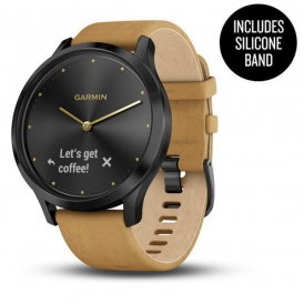 vivo move HR Onyx Black Stainless Steel Case with Tan Suede Band
