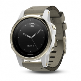 fēnix 5S Champagne Sapphire with Gray Suede Band